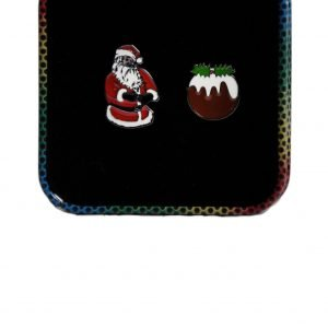 Christmas Santa and Pudding Cufflinks. Beautifully designed cufflinks in a gift box