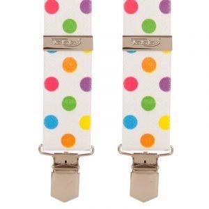 Multi Coloured Polka Dot Trouser Braces Tobby 35mm X Style Back Trouser Braces Big Coloured Dots