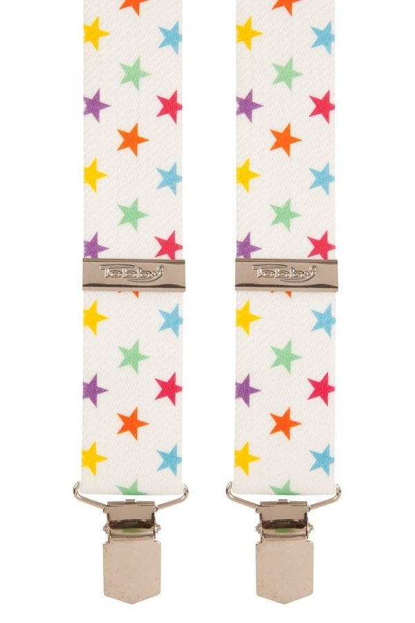 Multi Coloured Stars White Trouser Braces