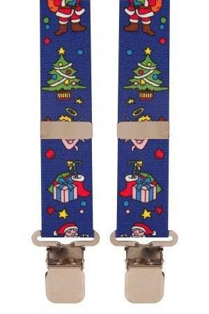 BriMarc Blue Christmas Tree Santa Trouser Braces