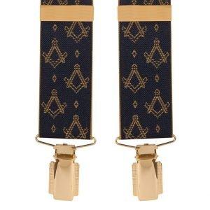 Masonic Masons Emblem Trouser Braces (Navy) 35mm Straps Top quality classic clip-on Men's masonic braces in Navy