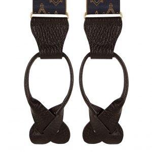 Button Masonic Trouser Braces (Navy) 35mm Straps