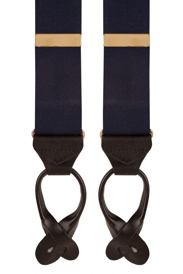 Plain Classic Leather End Trouser Braces in Navy Blue