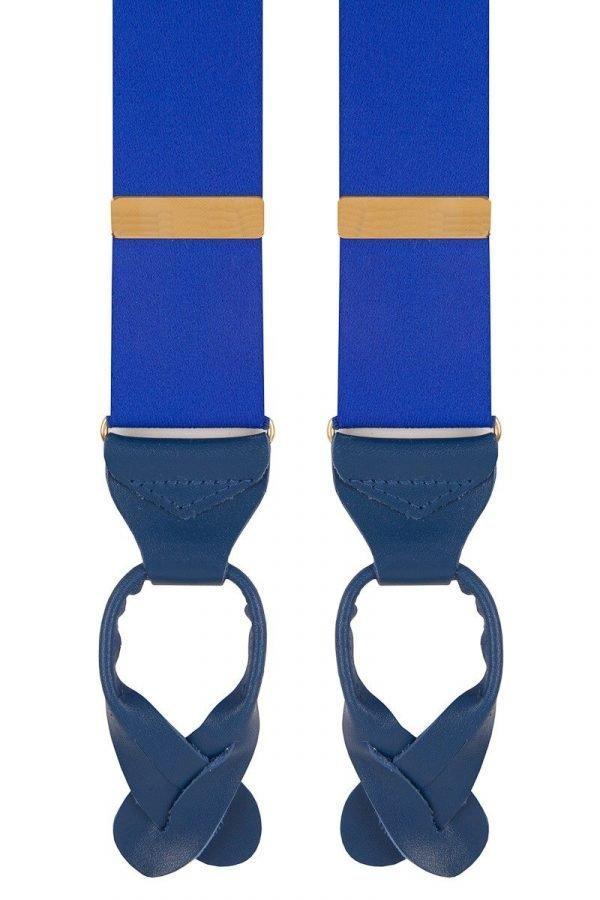 Plain Classic Leather End Trouser Braces in Royal Blue