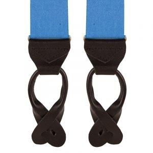 Plain Classic Leather End Trouser Braces in Bright Blue