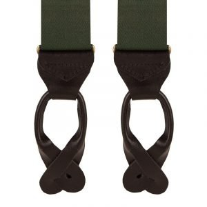 Plain Classic Leather End Trouser Braces in Green