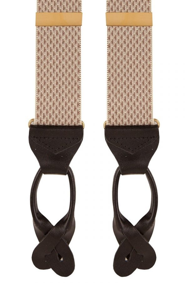 Plain Classic Leather End Trouser Braces in Beige Check Wide 35mm Straps