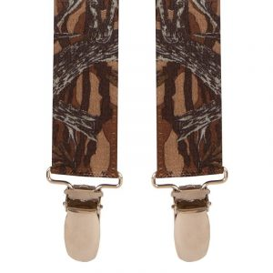 Children's Tree Bark Trouser Braces with silver clip ends.