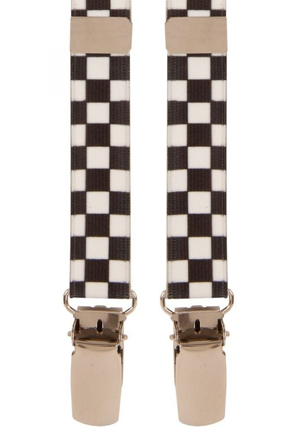 Check Ska Skinny Trouser Braces in White/Black
