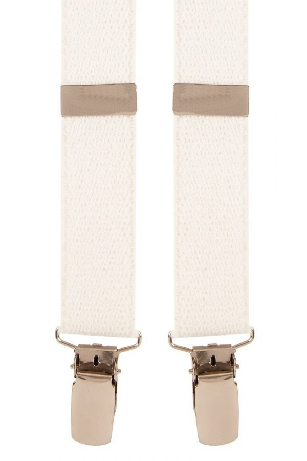 Top quality skinny classic X-Style braces in a pleasant Ivory White design with strong metal clips.