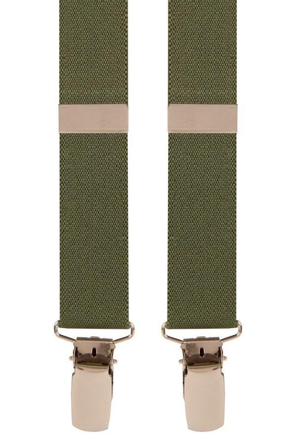 Plain Skinny Trouser Braces in Olive Green