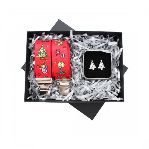 Christmas Braces and Christmas Tree Cufflink 2 Piece Gift Set