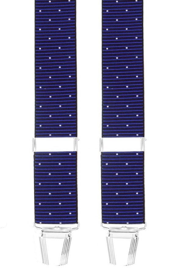 Polka Dot Stripe Trouser Braces in Blue/White
