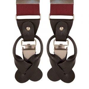 Combination Plain Trouser Braces in Burgundy/Wine