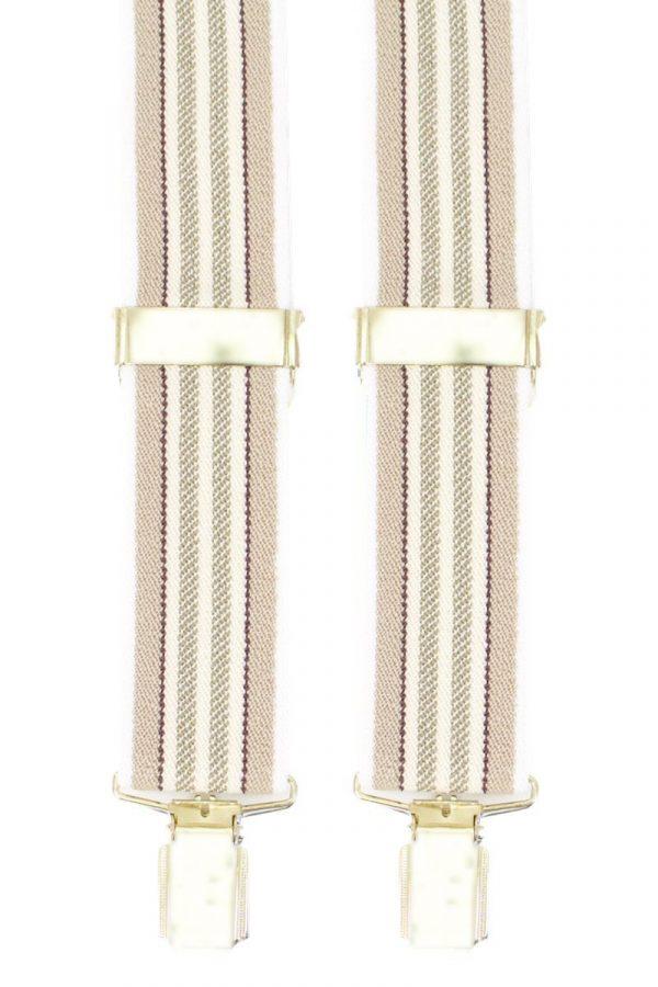 Striped Trouser Braces in Beige/Stone/Natural
