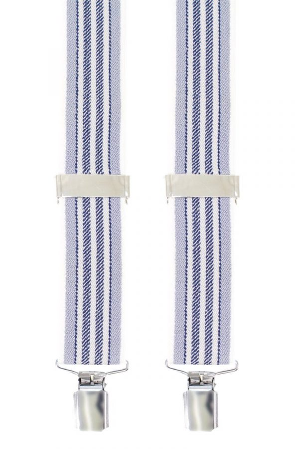 Striped Trouser Braces in Grey/White