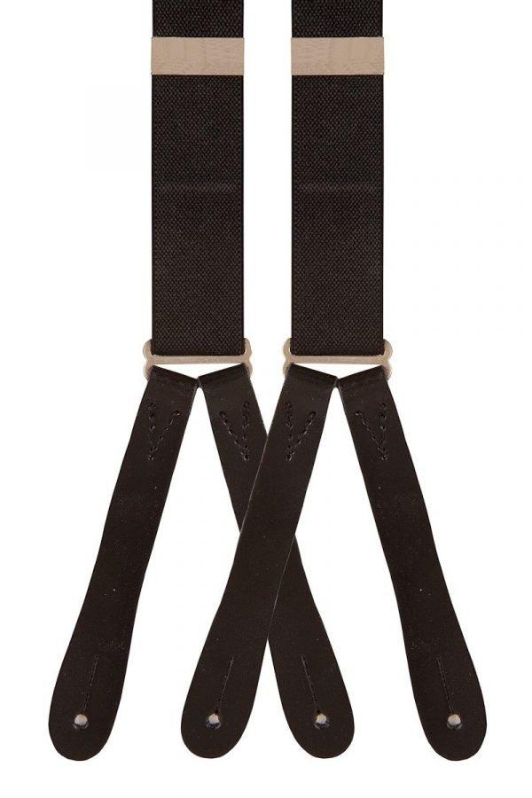 Plain Button End Trouser Braces in Black