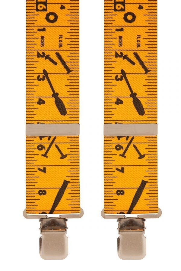Tape Measure Tools Trouser Braces in Yellow
