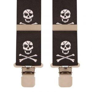 Skull & Crossbones Work Trouser Braces in Black