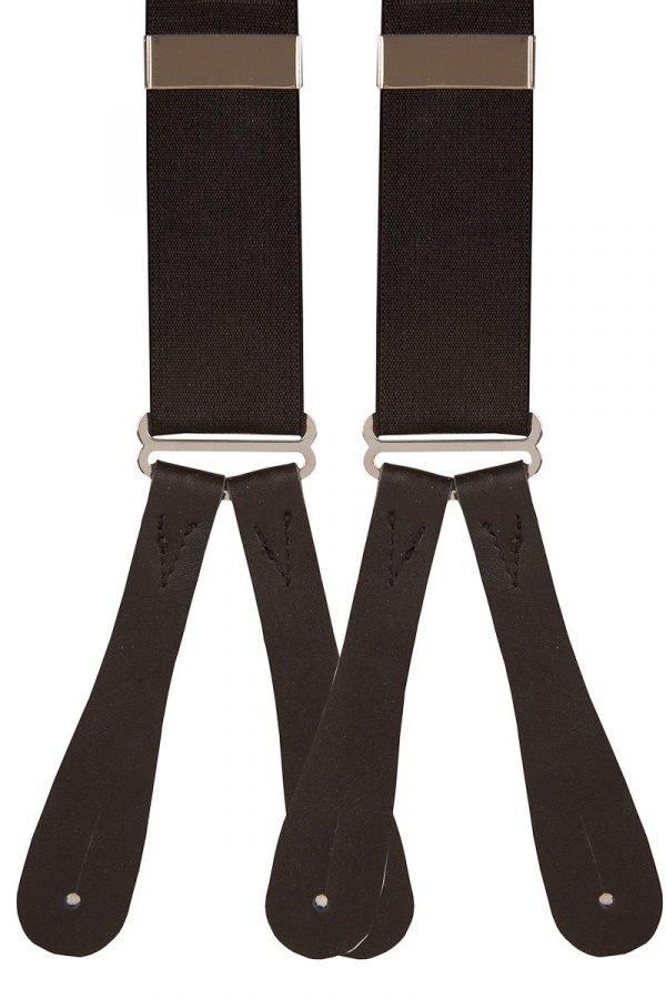 Plain Black Men's Runner End Trouser Braces 35mm men's runner end trouser braces