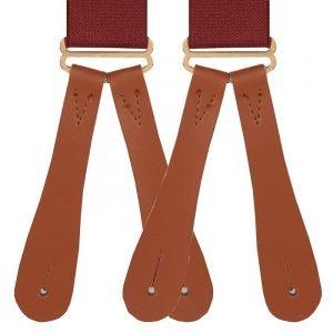 Plain Wine Button End Trouser Braces Wine colour traditional buttoned type men's braces