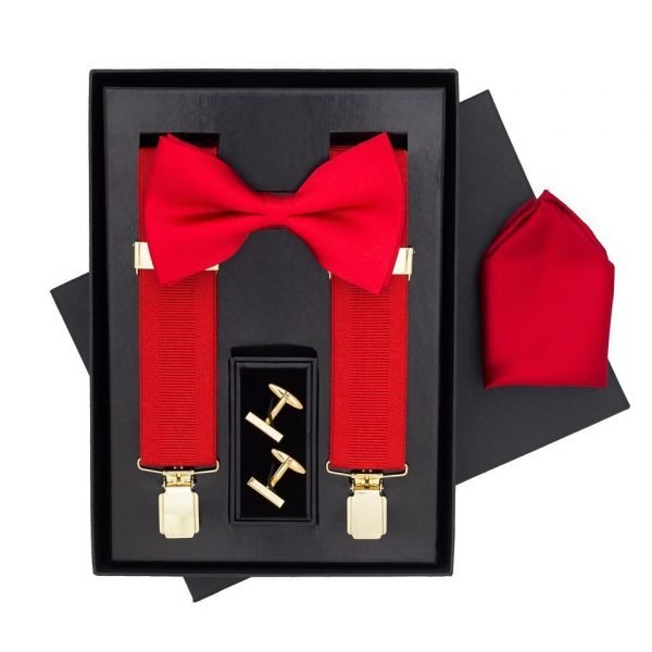 Traditional Bow Tie, Braces, Handkerchief and Cufflinks 4 Piece Gift Set in Red