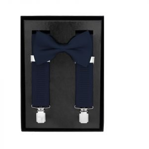 Traditional Bow Tie Braces, 2 Piece Gift Set in Navy Blue