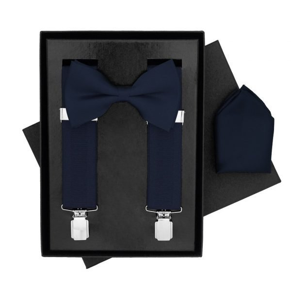 Traditional Bow Tie, Braces and Handkerchief 3 Piece Gift Set in Navy Blue