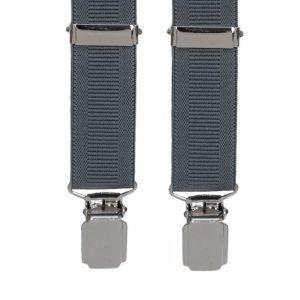 Plain Ribbed Trouser Braces in Grey