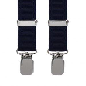 Plain Ribbed Trouser Braces in Navy