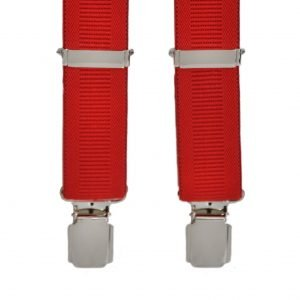 Plain Ribbed Trouser Braces in Red