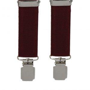Plain Ribbed Trouser Braces in Wine