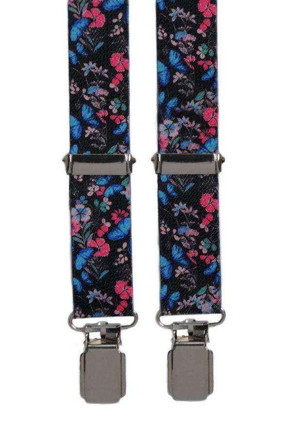 Floral Design Trouser Braces in Pink