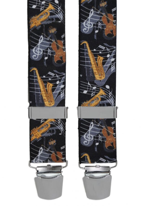 Music Design Trouser Braces in Black
