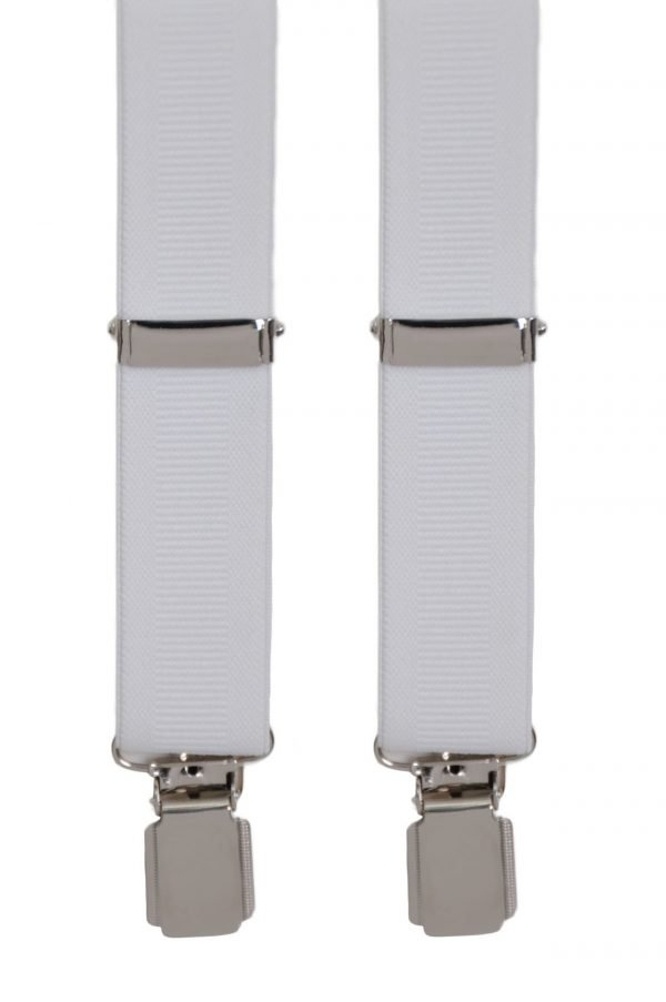 Plain Ribbed Trouser Braces in White