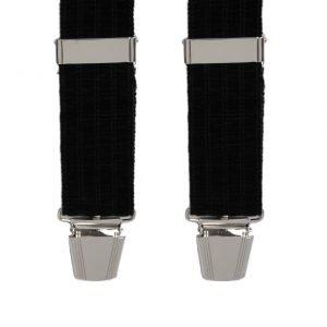 Chenille Velvet patterned Trouser Braces in Black