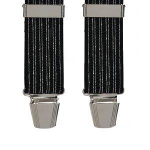 Lurex Stripe Trouser Braces in Black/Silver