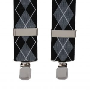Argyle Patterned Trouser Braces in Grey 35mm X-Style