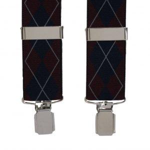Argyle Pattern Trouser Braces in Navy/Wine
