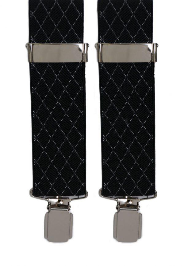 Diamond Pattern Trouser Braces in Black