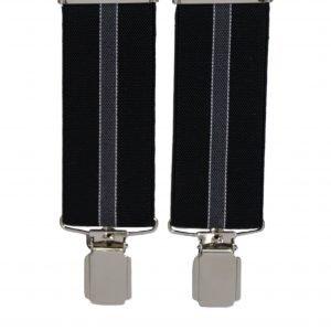 Stripe Pattern Trouser Braces in Black/Grey