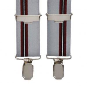 Stripe Pattern Trouser Braces in Grey/Red