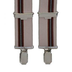 Stripe Pattern Trouser Braces in Sand/Red