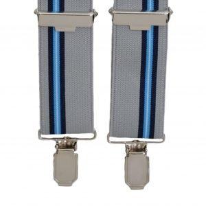 Stripe Pattern Trouser Braces in Grey/Blue
