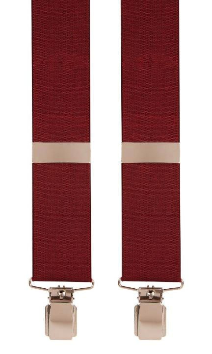 Plain Trouser Braces in Wine Red X-Style | Metal Clips