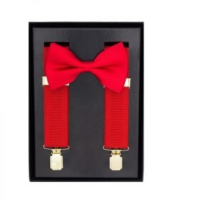 Traditional Bow Tie Braces, 2 Piece Gift Set in Red