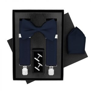 Traditional Bow Tie, Braces, Handkerchief and Cufflinks 4 Piece Gift Set in Navy Blue