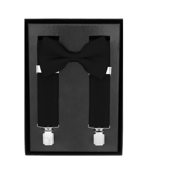 Traditional Bow Tie Braces, 2 Piece Gift Set in Black Our Black Trouser Braces Box Gift Set makes the perfect gift idea.