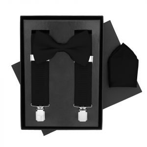 Traditional Bow Tie, Braces and Handkerchief 3 Piece Gift Set in Black