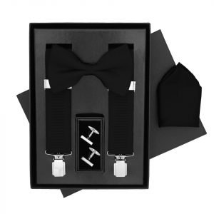 Traditional Bow Tie, Braces, Handkerchief and Cufflinks 4 Piece Gift Set in Black